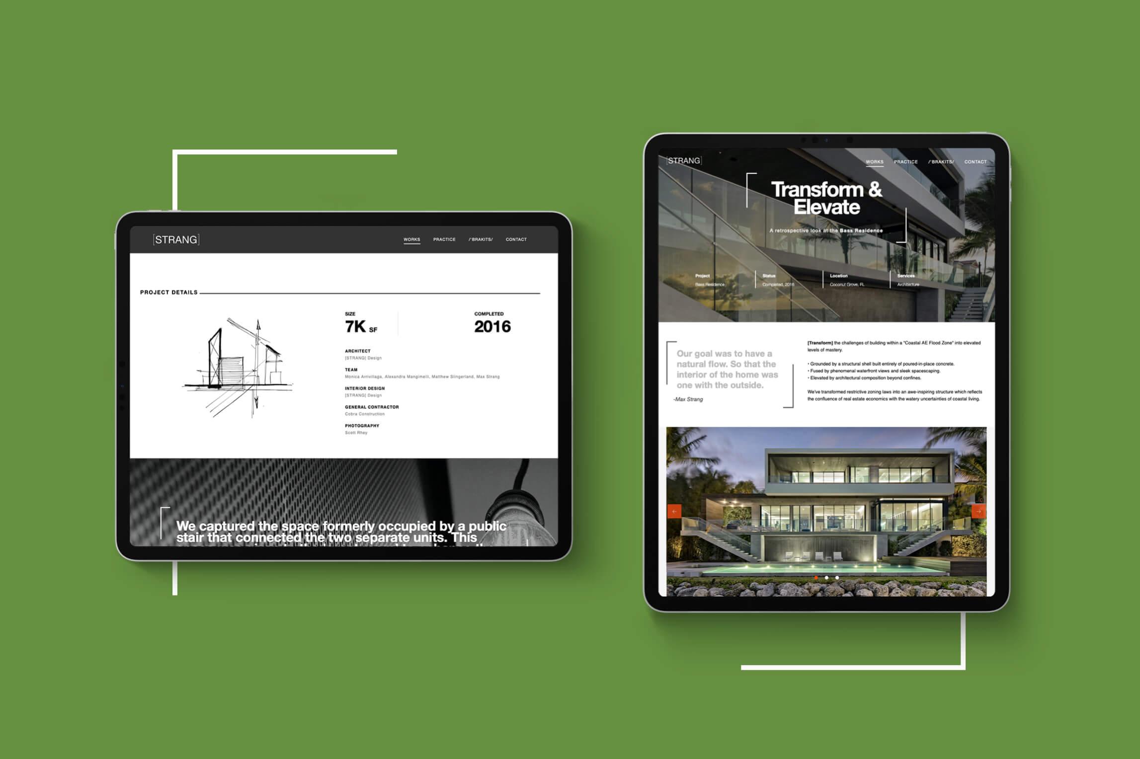 Strang Tablet Transform & Elevate Web Page